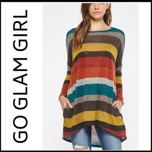 Glam Girl Fashion Tops - NWT SALLY Striped Tunic w/pockets